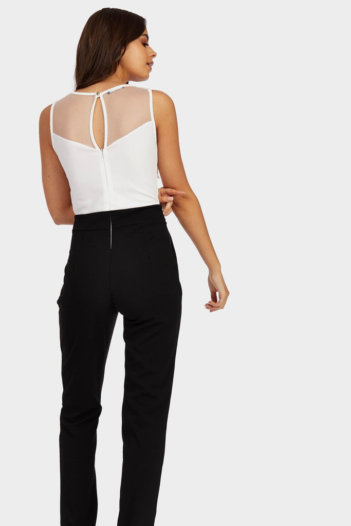 Cream Mesh Front Embroidered Jumpsuit