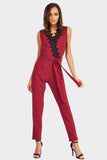 Wine Lace Trim Detail Jumpsuit
