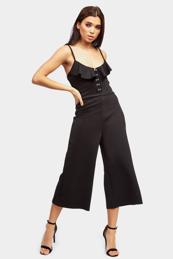Black Frill Detail Hook And Eye Jumpsuit