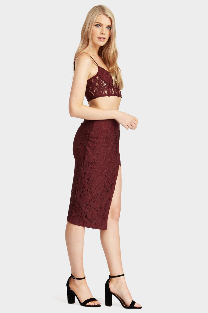 Burgundy Midi Lace Split Skirt