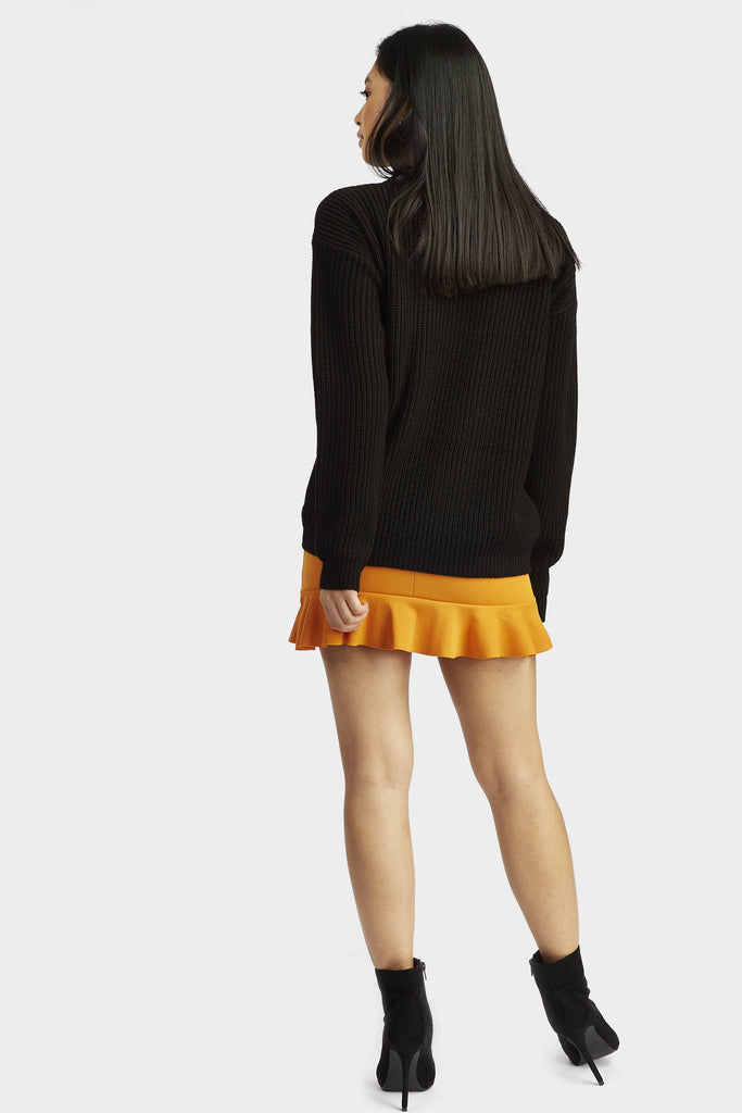 Mustard Frill Hem Mini Skirt