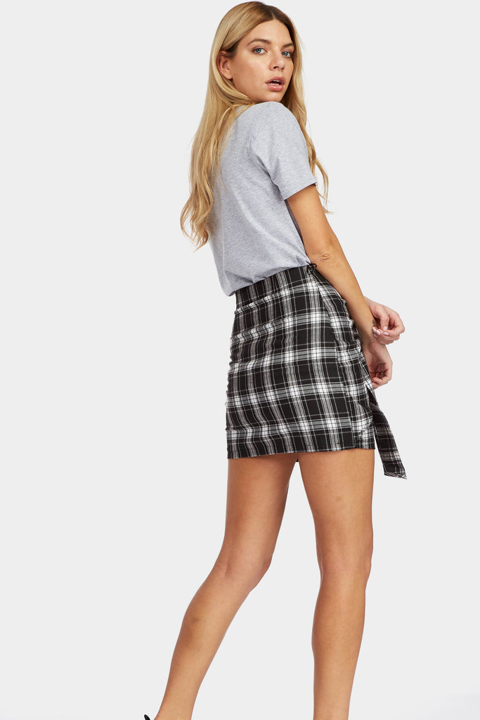 Black/White Checked Bow Skirt
