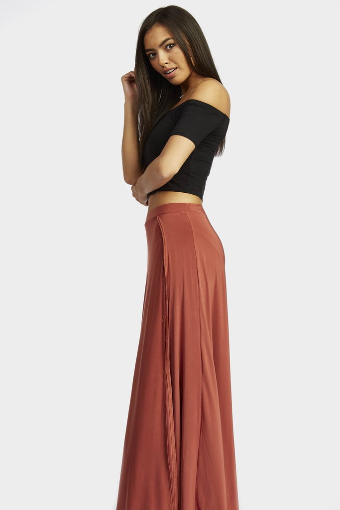 Rust Double Split Maxi Skirt