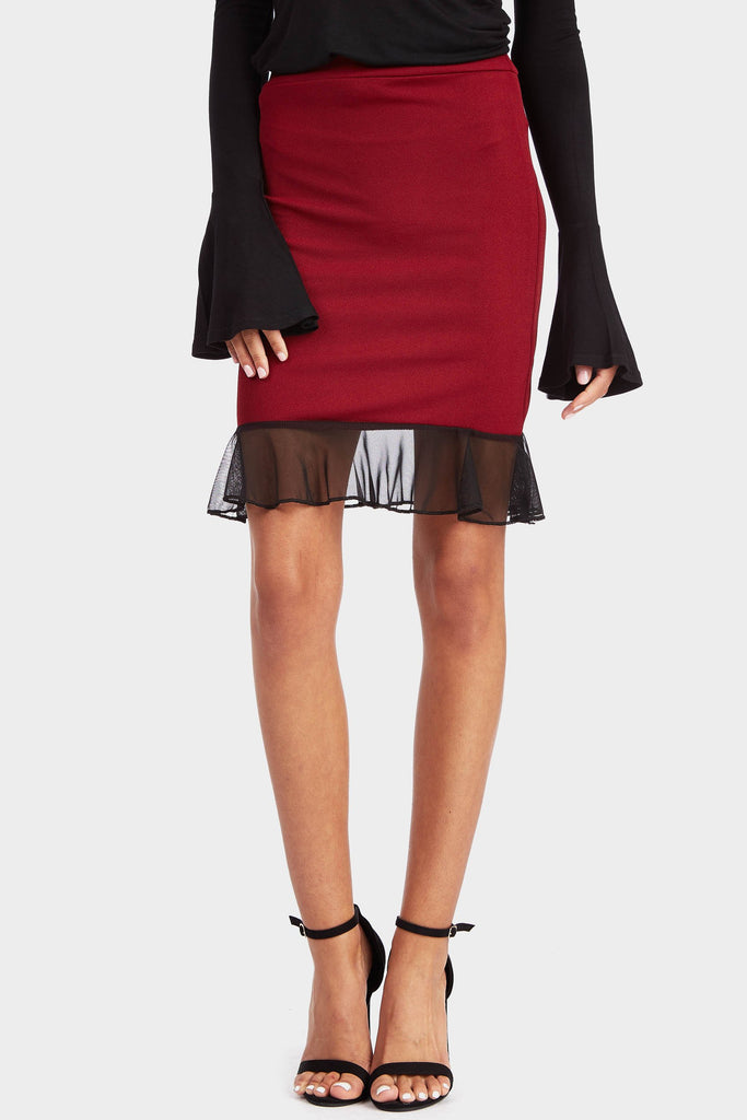 Wine Frilled Hem Skirt