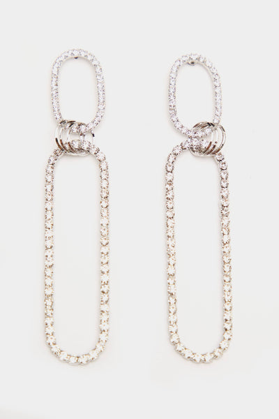 Silver Double Hoop Diamante Earrings