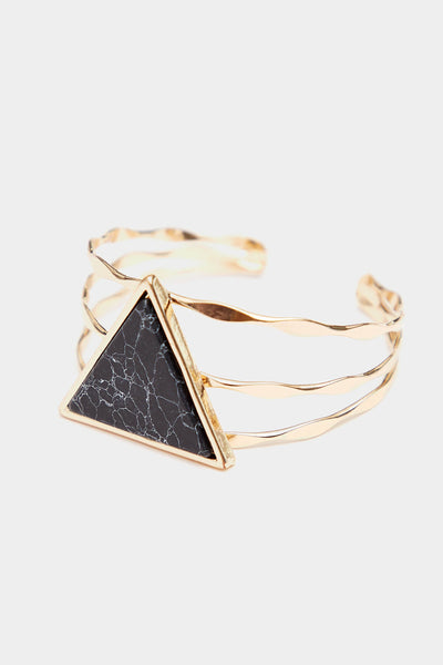 Gold Twisted Bangle With Marble Triangle Detail