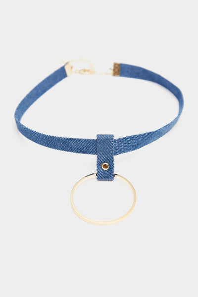 Blue Denim Choker With Ring Detail