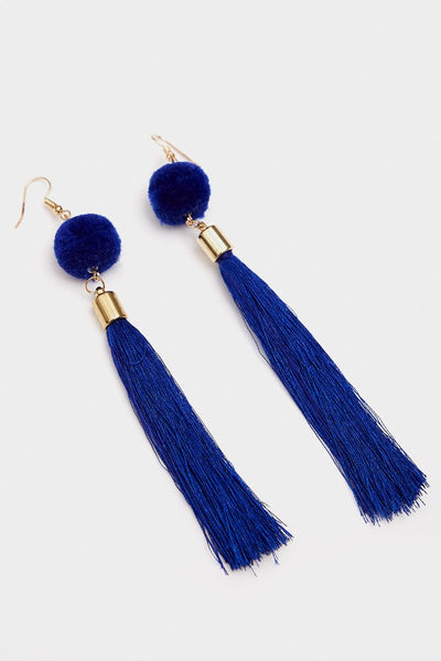 Blue Tassel Earrings With Pom Pom