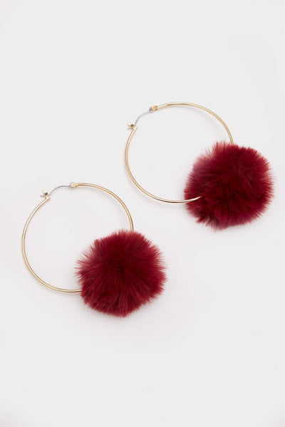 Wine Pom Hoop Earrings