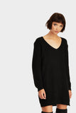 Black Long V Neck Jumper
