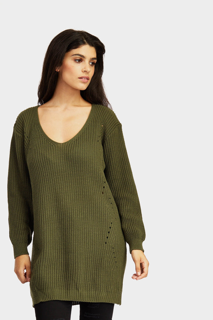 Khaki Long V Neck Jumper