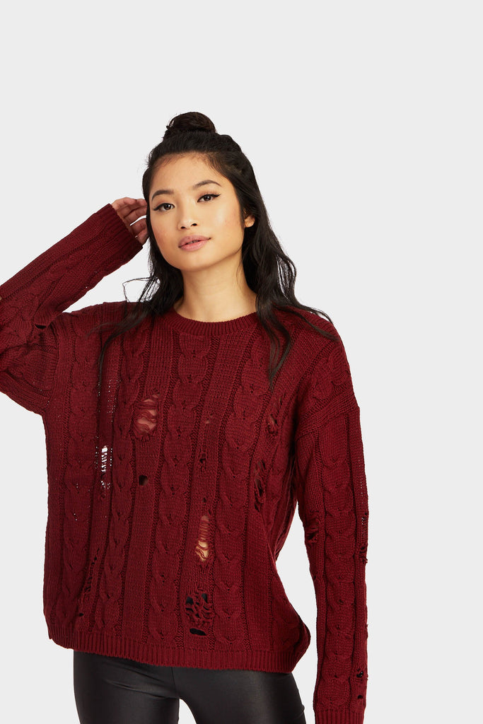Burgundy Distressed Knitted Jumper