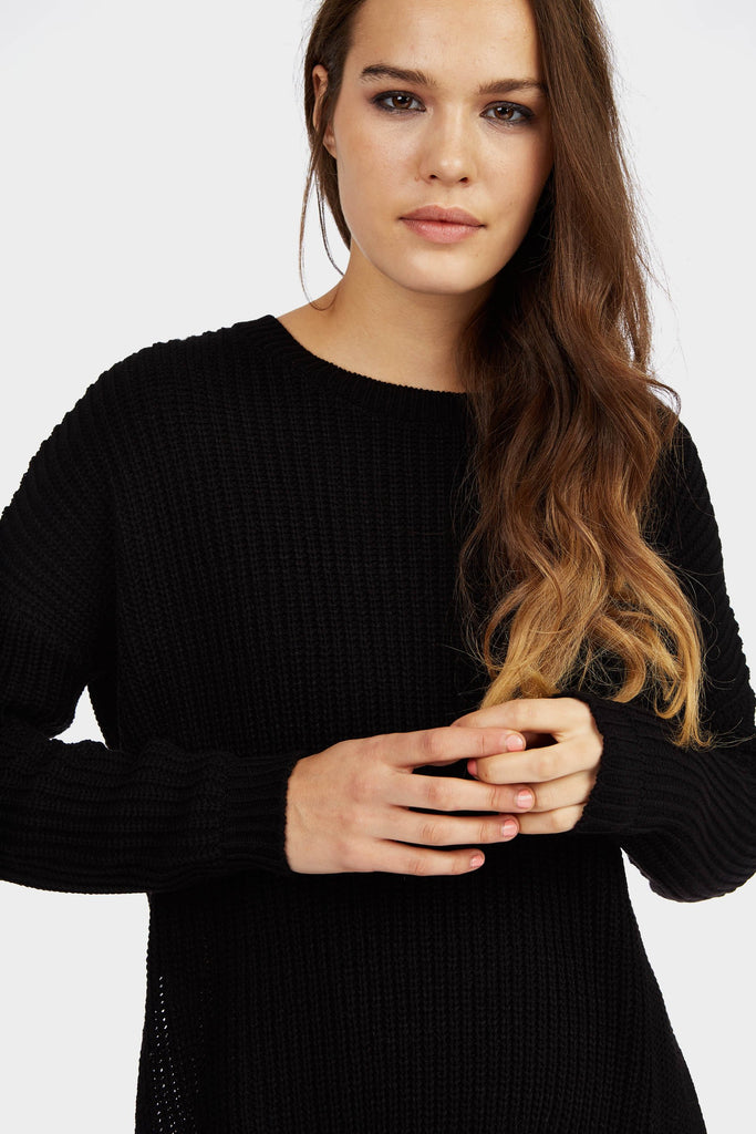 Black Oversized Side Split Jumper