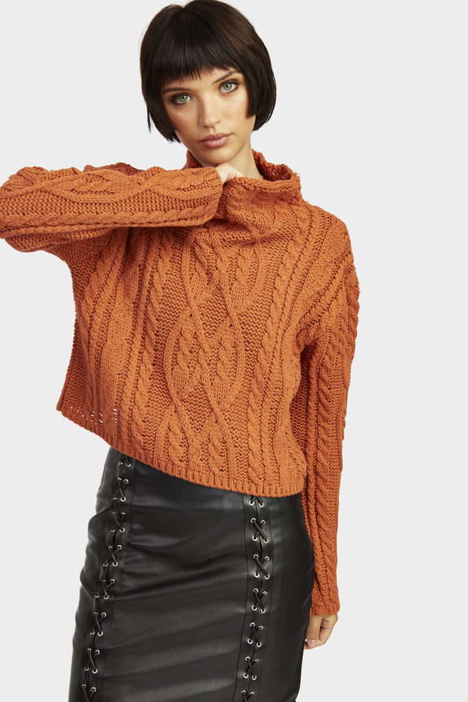 Cinnamon Cable Knit Funnel Neck Jumper