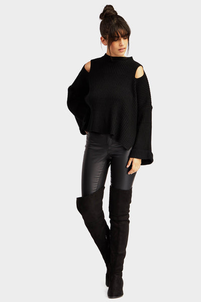 Black Oversized Cut Out Jumper