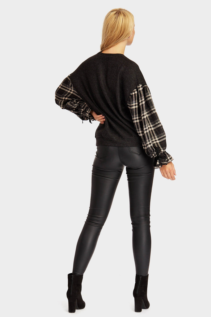 Black Checked Balloon Sleeve Jumper