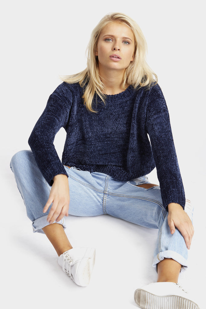 Navy Cropped Texture Jumper