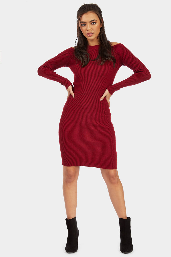 Red Cold Shoulder Knitted Ribbed Dress