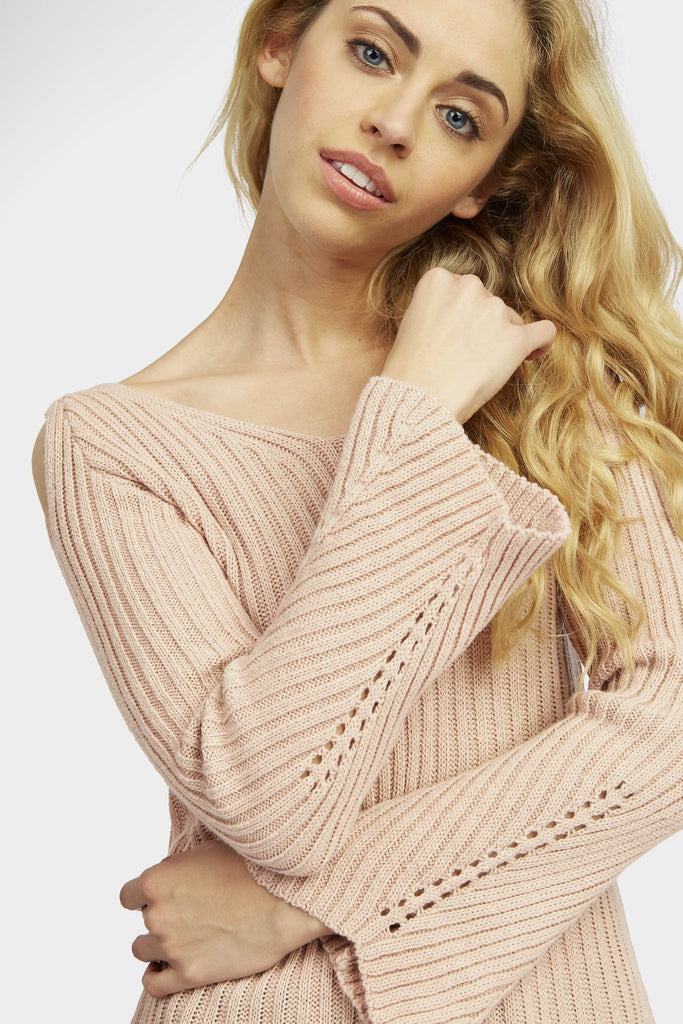 Pink Cold Shoulder V Neck Jumper