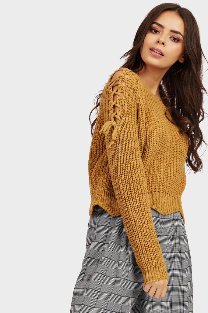 Mustard Scallop Hem Knitted Jumper With Tie Up Detail