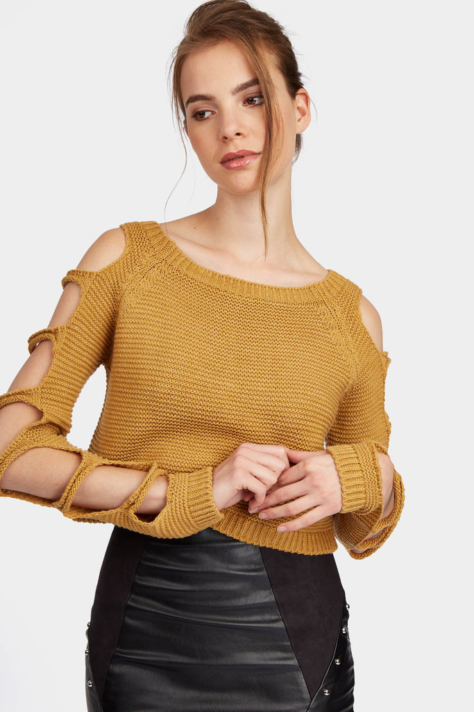 Mustard Cut Out Detail Knitted Jumper