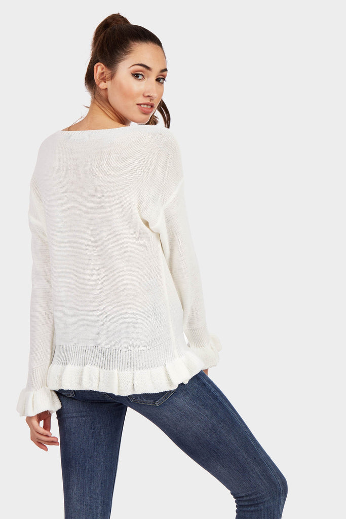 Cream Frill Cuff And Hem Knitted Jumper
