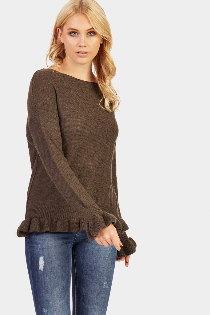 Fango Frill Cuff And Hem Detail Knitted Jumper
