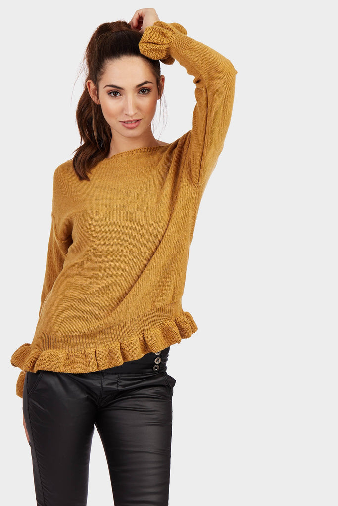 Mustard Frill Cuff And Hem Knitted Jumper