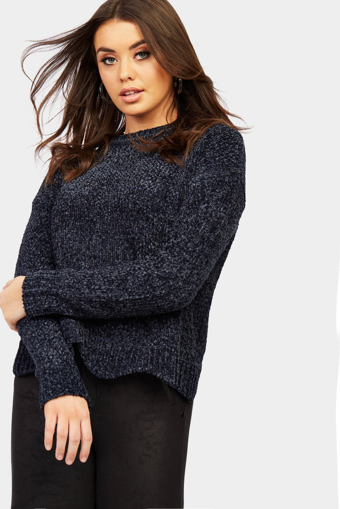 Navy Chenille Jumper With Scallop Hem