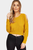 Yellow Cold Shoulder Cropped Jumper