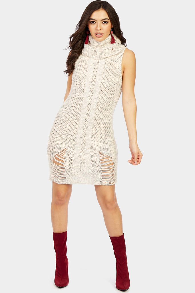 Stone High Neck Distressed Knitwear Dress