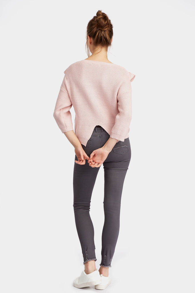 wide-sleeve-ruffle-front-jumper