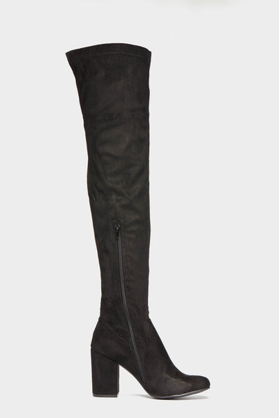 Black Block Knee High Stretch Boots