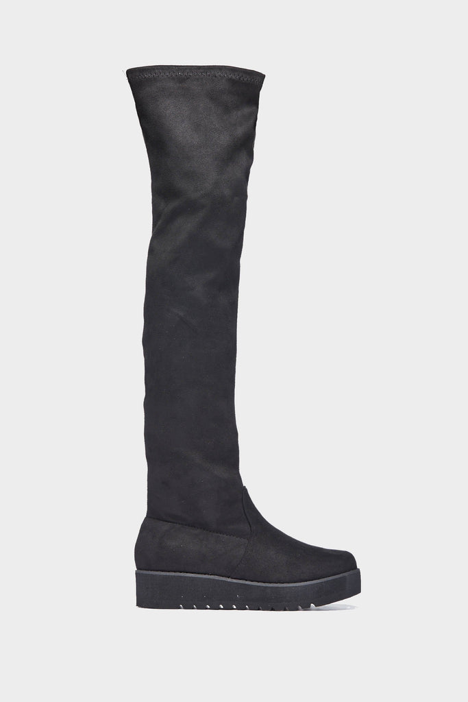 Black Wedge Over The Knee Boots