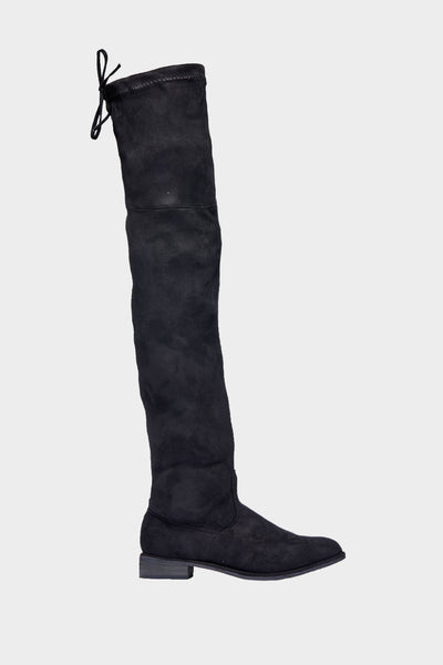 Black Over The Knee Tie Boots