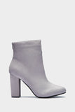 Grey Block Heel Ankle Boots