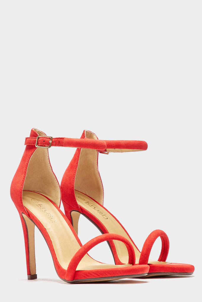 Red Suede Faux Two Part Platform Heels