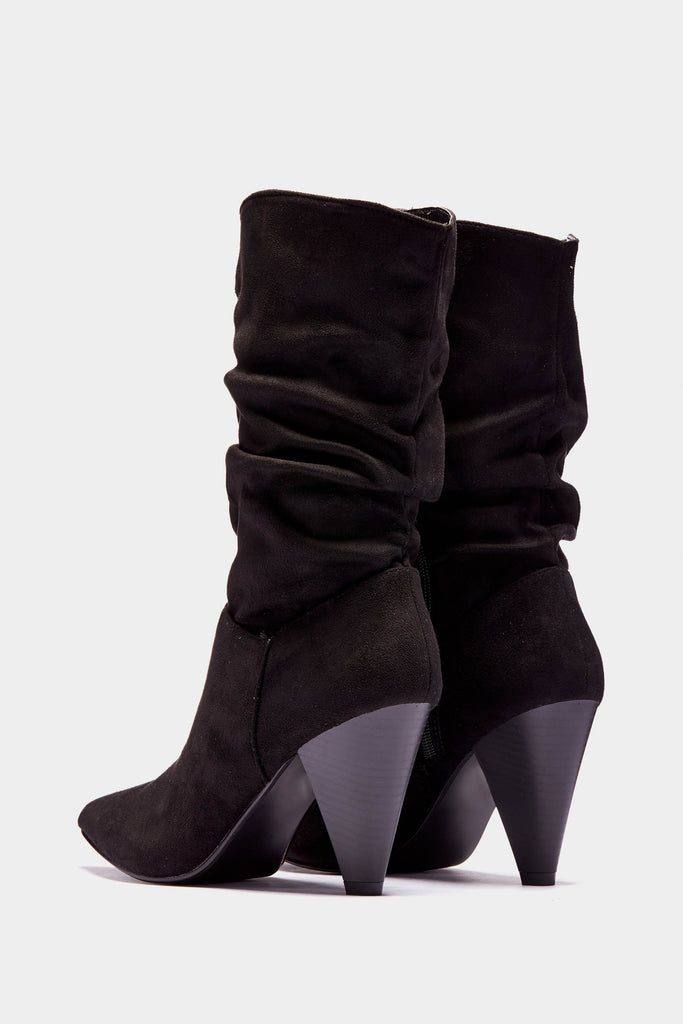 Black Mexican Ruched Heeled Boots