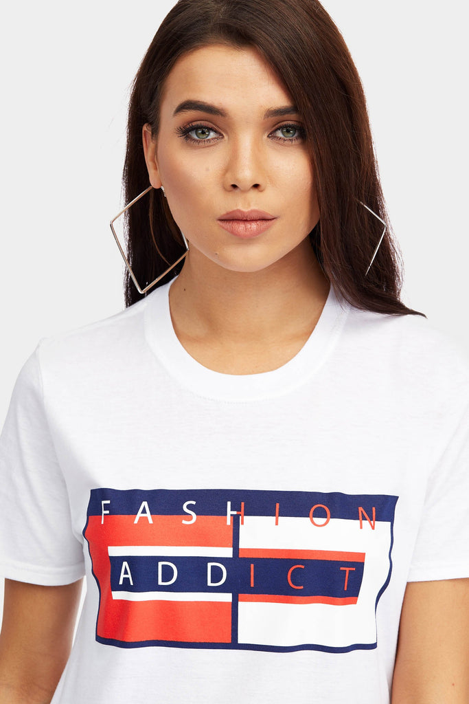 White Fashion Addict Slogan T-Shirt