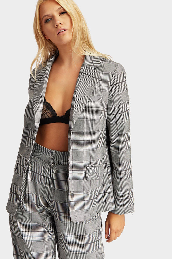 Grey Checked Print Suit Co-Ord Blazer