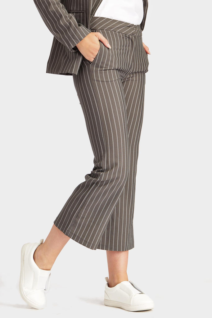 Grey Pinstripe Co-Ord Trousers
