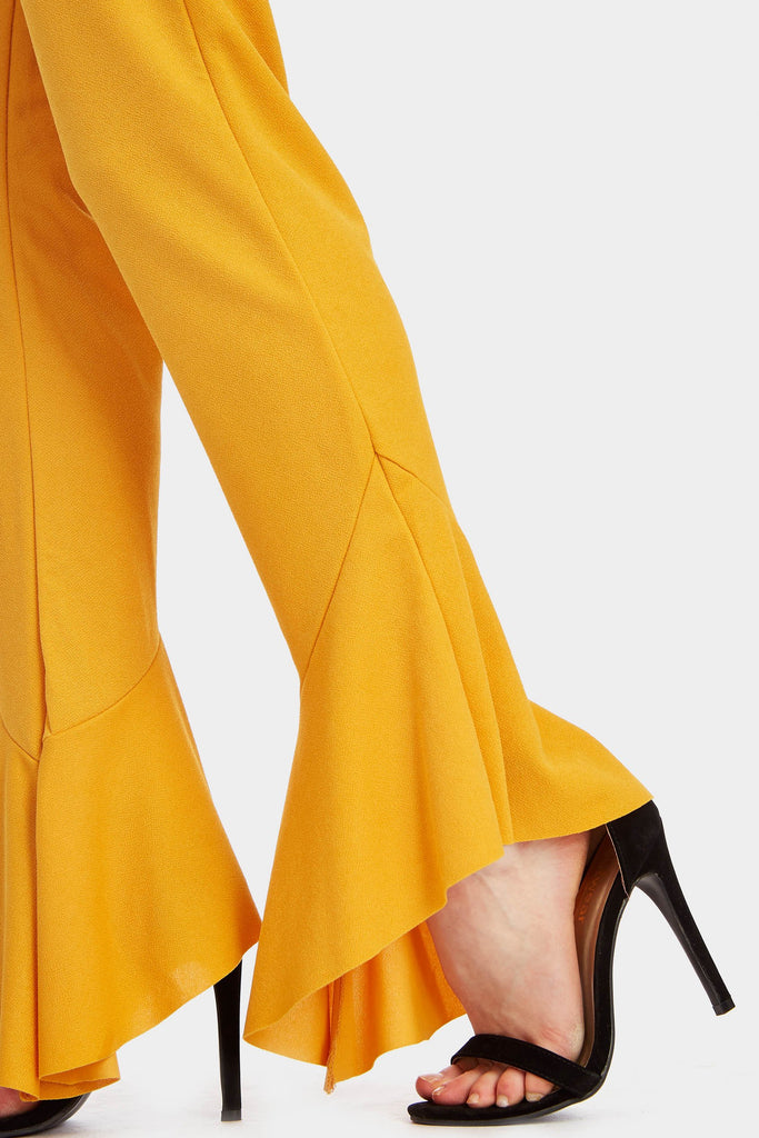 Mustard High Waisted Flared Trousers