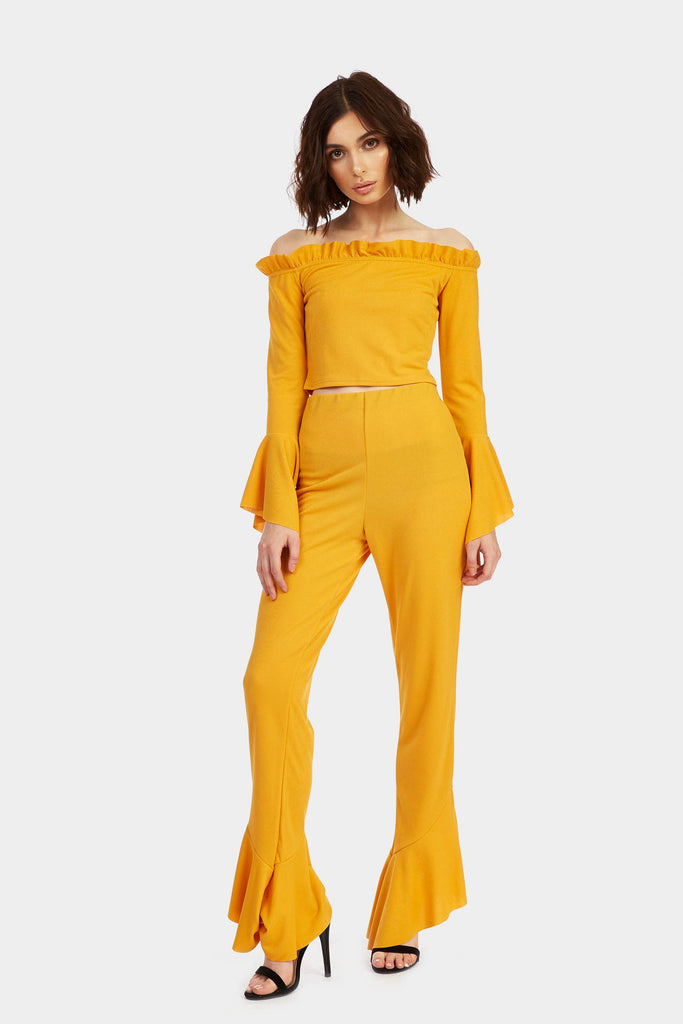 Mustard Flared Bardot Crop Top