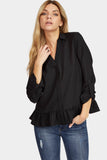 Black Frill Hem Turn Up Sleeve Blouse