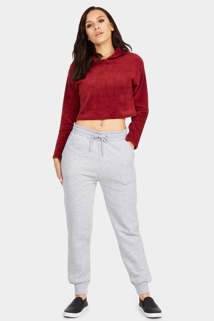 Berry Fleece Crop Hoodie