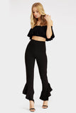 Black Ruffle Trousers