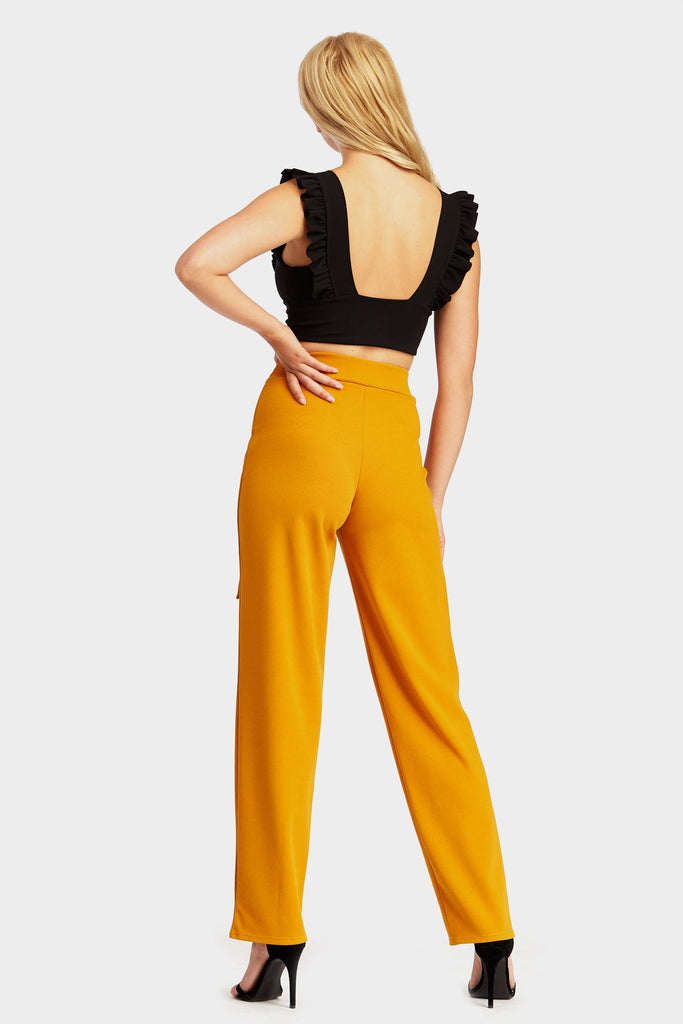 Mustard Wide Leg Trousers With Ring Belt