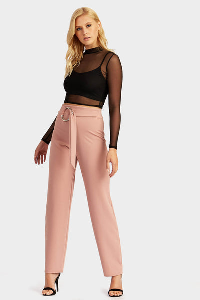 Rose Wide Leg Ring Belt Detail Trousers