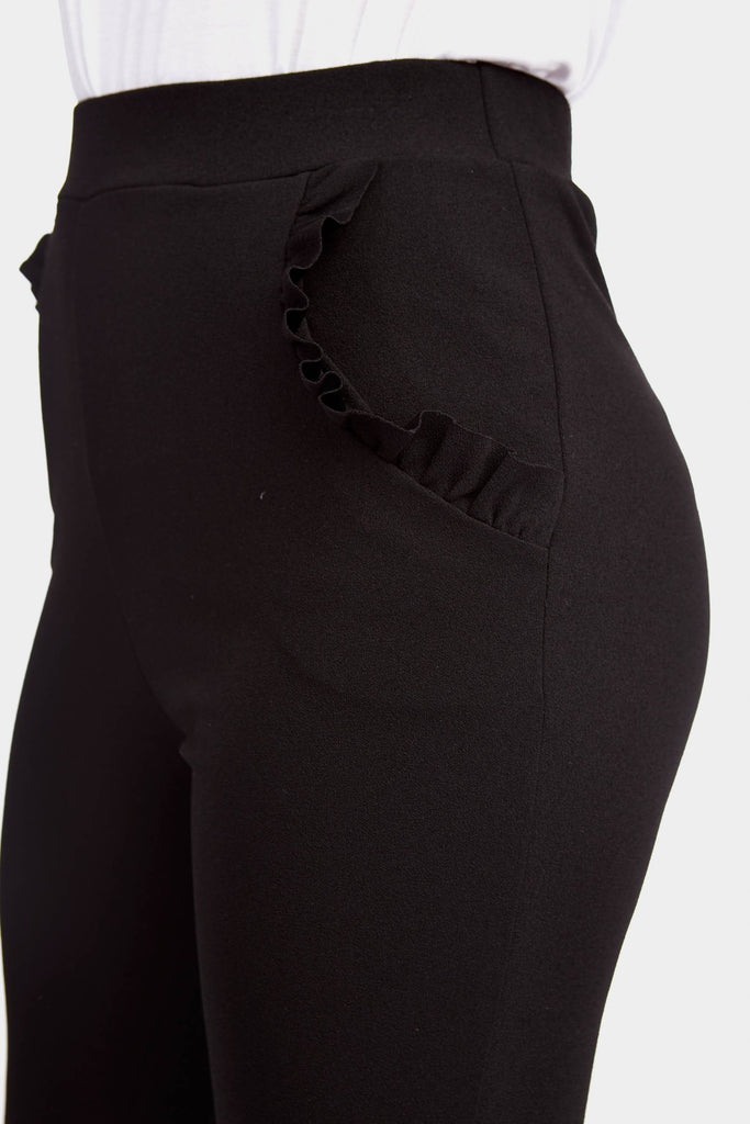 Black Frill Hem And Pocket Trousers