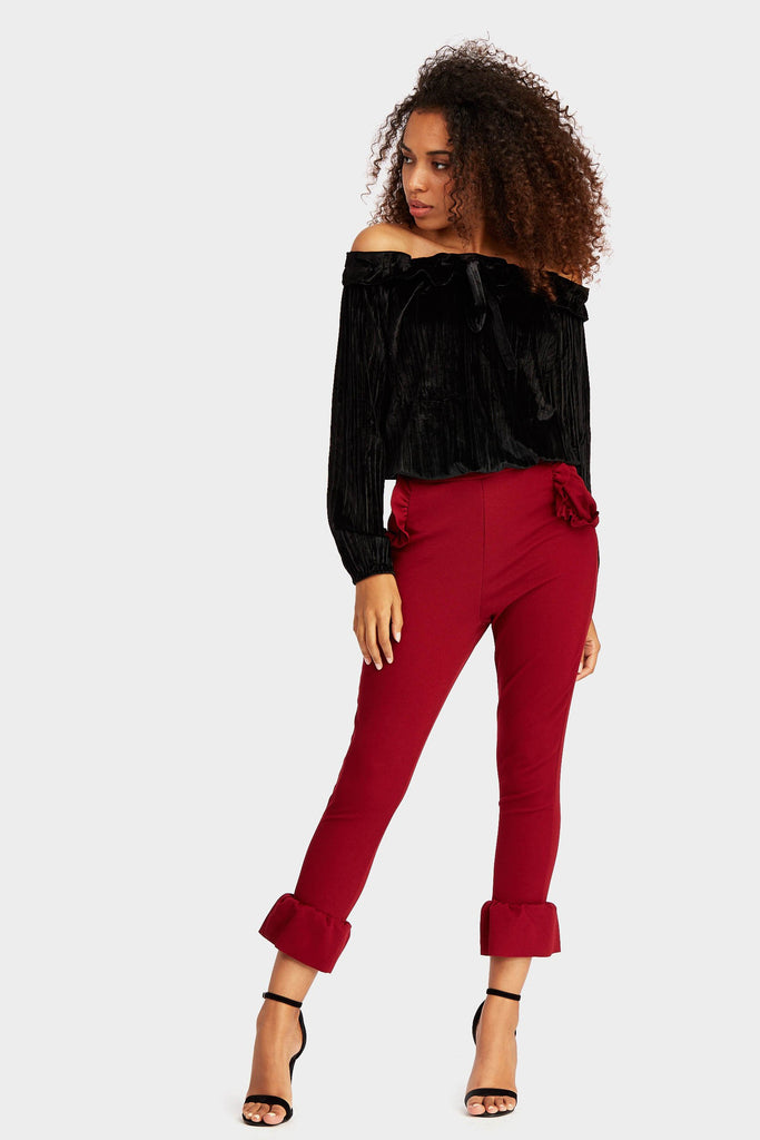Wine Frill Hem And Pocket Trousers
